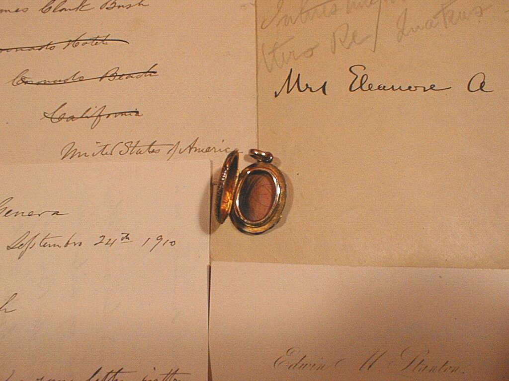 A Memorial Locket containing a lock of hair from Edwin M. Stanton