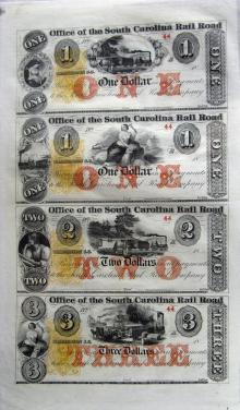 South Carolina Rail Road, MINT uncut, unissued, uncut sheets