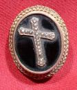 Gold Brooch With Black Onyx and Seed Pearl Cross