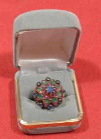 14kt Period Ring With Rubies, Saphires and Emeralds