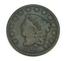 1831 Matron Early Copper Penny aka large cent